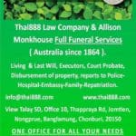 Funeral Director Services Allison Monkhouse Thailand and Thai888 Law need to contact 1 company to get everything done English