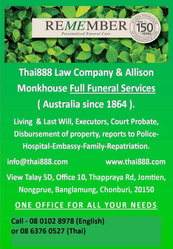 Funeral Director Services Allison Monkhouse Thailand and Thai888 Law
